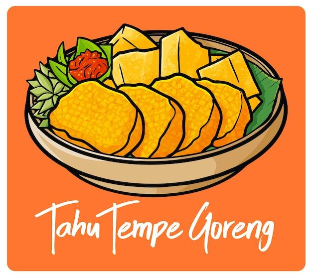 落書きスタイルのインドネシアのスナック、サンバルとおいしいタフテンペ