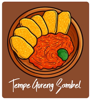 Yummy tempe goreng sambel an indonesian snack in doodle style