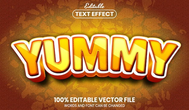 Yummy text, font style editable text effect