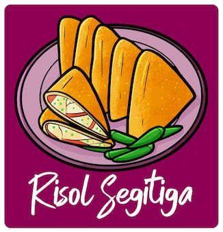 Yummy triangle risol a traditional snack from indonesia in doodle style