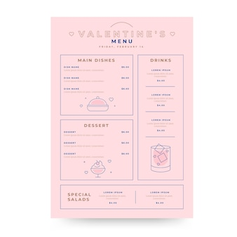 Шаблон меню вкусного дня святого валентина