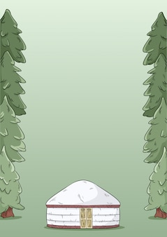 Yurt and fir trees