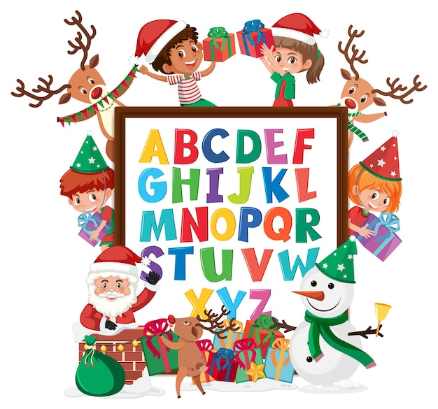 A-z alphabet board with many kids in christmas theme