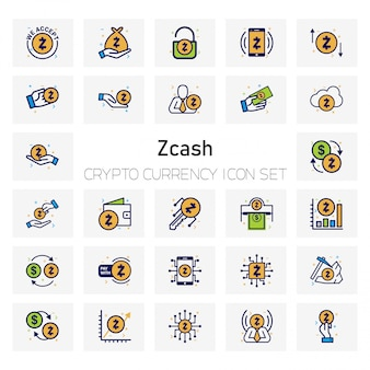 Z cash crypto currency icons set