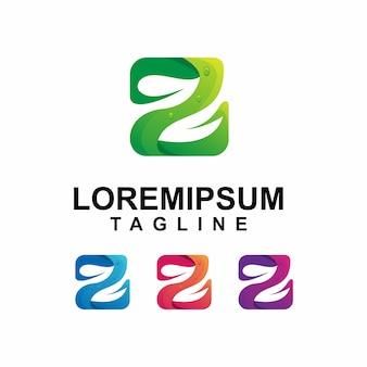 Красочная буква z с дизайном логотипа leaf