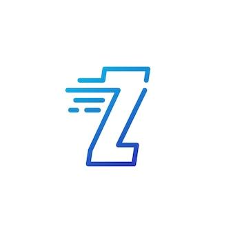 Z letter dash fast quick digital mark line outline logo vector icon illustration