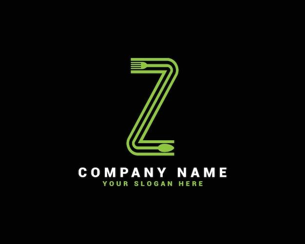 Zレターロゴ、zフードレターロゴ、zスプーンレターロゴ