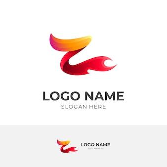 Zロゴと火のデザインの組み合わせ、3dカラフルなロゴテンプレート、電源アイコン