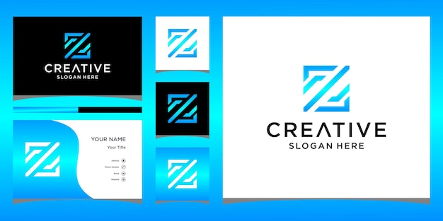 Дизайн логотипа z с шаблоном визитной карточки
