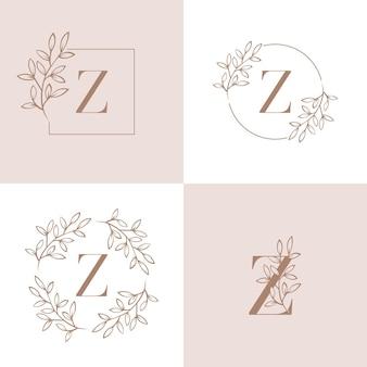 蘭の葉とモノグラム文字zロゴデザイン