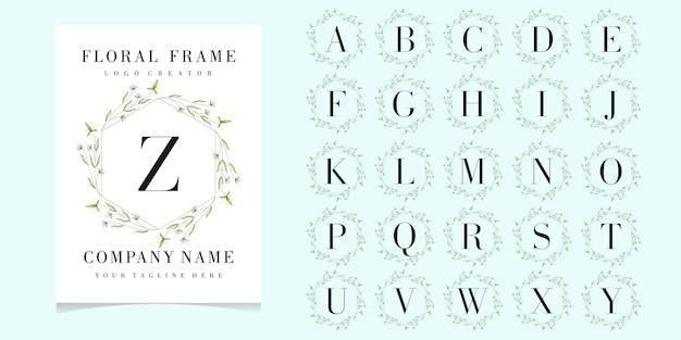 Буква z логотип с цветочной рамкой