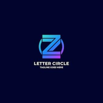 Логотип иллюстрация буква z с круговым градиентом красочный