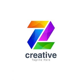 Красочный буква z логотип дизайн вектор шаблон