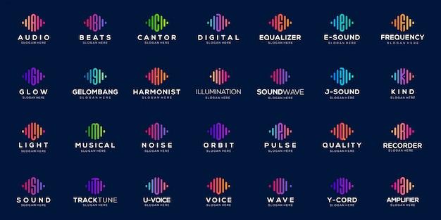 Набор монограммы импульса символа от буквы а до буквы z дизайн логотипа. аудио волна логотип концепция.