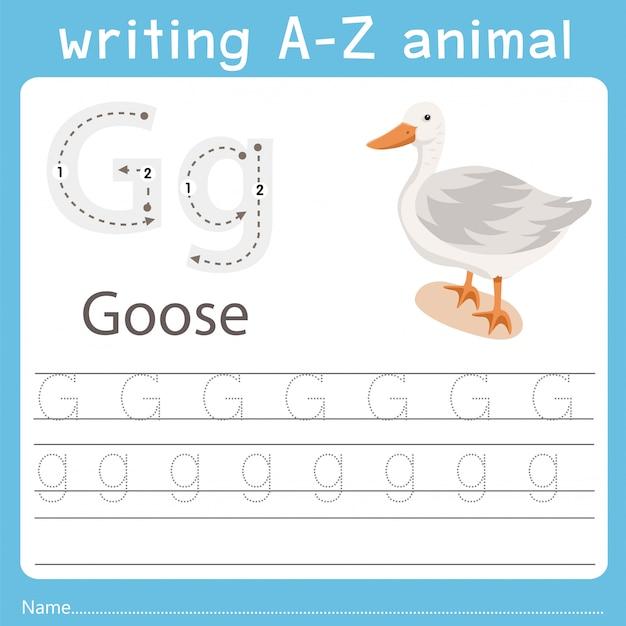 ガチョウのz動物を書くイラストレーター