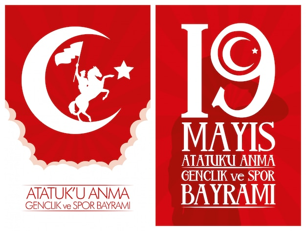 Zafer bayrami celebration card with soldier in horse