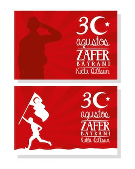 Zafer bayrami celebration card with soldier running with flag