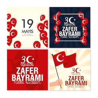 Zafer bayrami celebration card with turkey flags in balloons helium