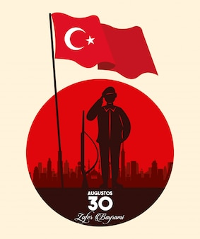 Zafer bayrami celebration with soldier and flag silhouette