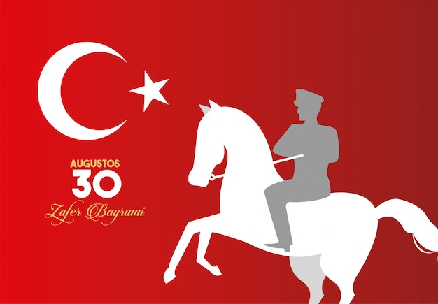 Zafer bayrami celebration with soldier in horse and flag
