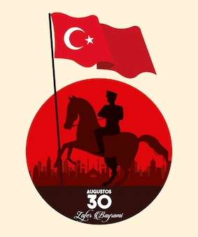 Zafer bayrami celebration with soldier in horse waving flag