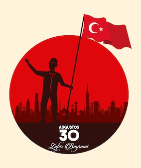 Zafer bayrami celebration with soldier waving flag on the city