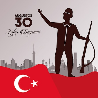 Zafer bayrami celebration with soldier and weapon on the city waving flag