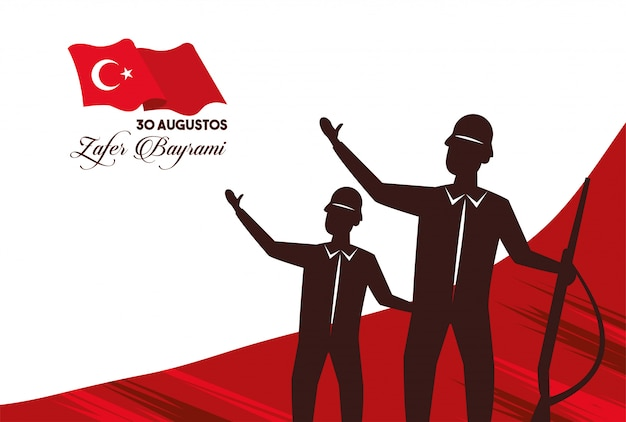 Zafer bayrami celebration with soldiers figures and rifles vector illustration design