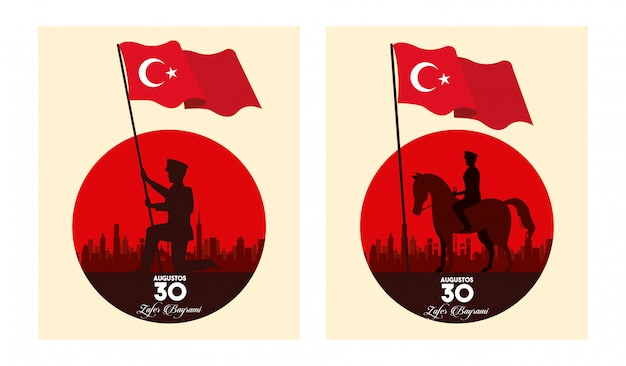 Zafer bayrami celebration with soldiers in horse waving flags vector illustration design
