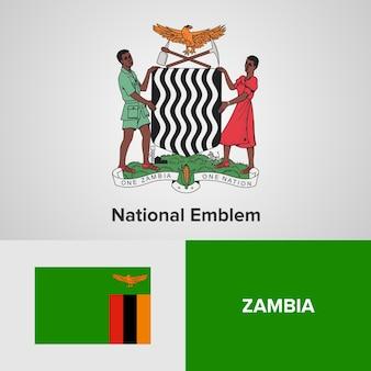 Zambia national emblem and flag