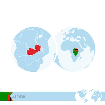 Zambia on world globe with flag and regional map of zambia. vector illustration.