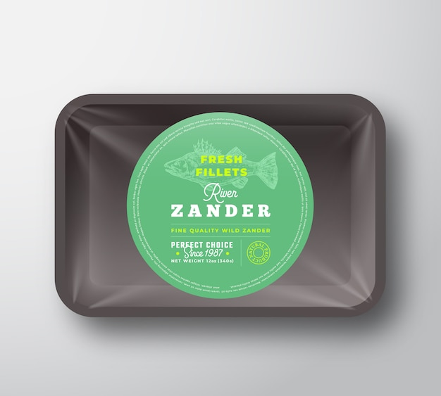 Zander fillets. abstract fish plastic tray with cellophane cover packaging design round label or sticker. retro typography and hand drawn pikeperch silhouette background layout. isolated.