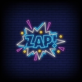 Zap for poster in neon style.