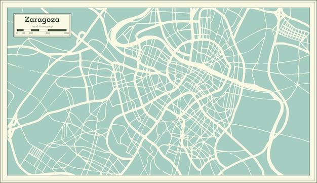 복고 스타일의 사라고사 스페인 도시 지도입니다. 개요 지도. 벡터 일러스트 레이 션.