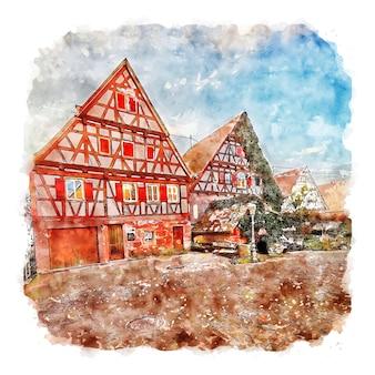 Zavelstein germany watercolor sketch hand drawn illustration