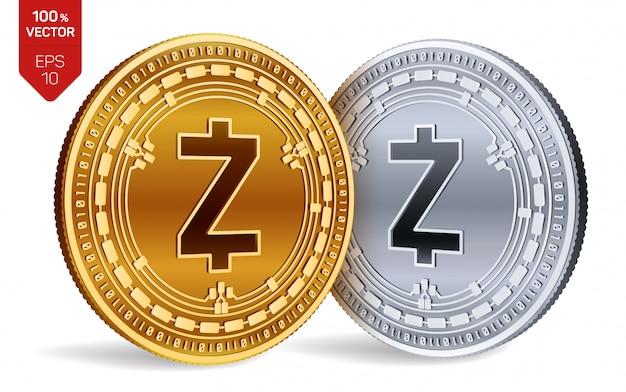白い背景に分離されたzcashシンボルと暗号通貨の黄金と銀のコイン。