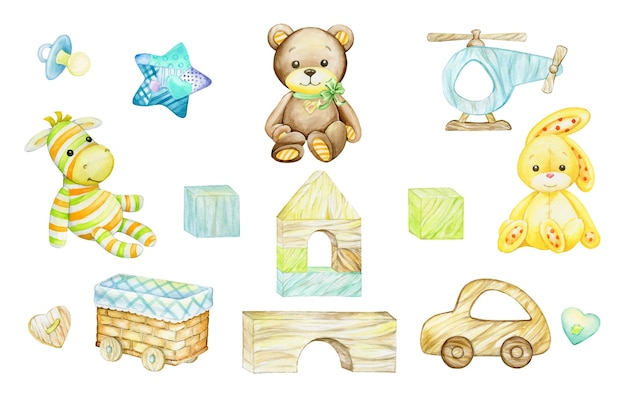 ゼブラ、クマ、ウサギ、木のおもちゃ。孤立した背景に、漫画風の水彩クリップアート。子供のはがきや休日に。