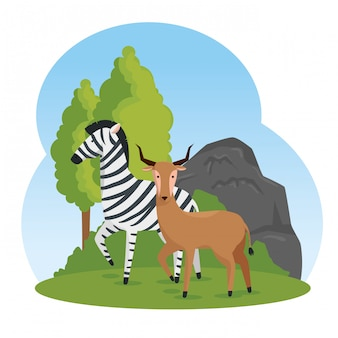 Zebra and deer wild animals with trees