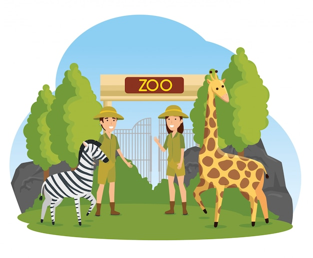 Zebra and giraffe wild animals with safari people