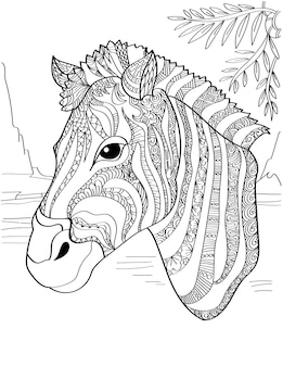 Zebra head facing sideward with leaves above colorless line drawing horse with stripe pattern