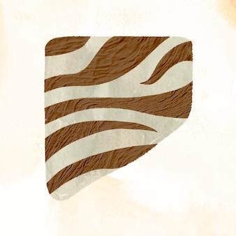 Элемент коллажа рисунка зебры, коричневая абстрактная форма с текстурой в векторе тона земли