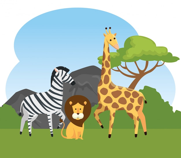 Zebra with lion and giraffe wild animals