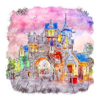 Zeewold 네덜란드 수채화 스케치 손으로 그린 그림 프리미엄 벡터