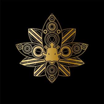 Эмблема дзен и медитации. знак брендинга шаблона центра культуры йоги. знак здорового образа жизни, релаксации и медитативной практики с золотым женским силуэтом в векторной иллюстрации цветок лотоса