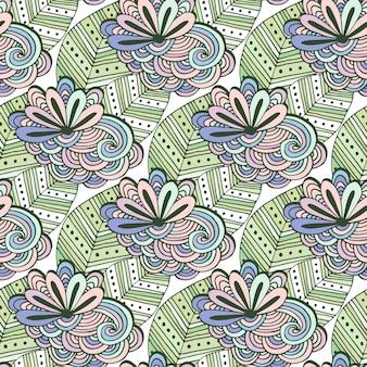 젠 아트 꽃 벡터 패턴입니다. 젠 탱글 색칠하기 꽃과 잎으로 낙서 원활한 배경