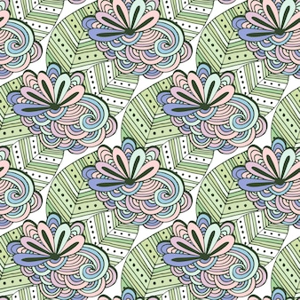 Zen art floral vector pattern. zentangle coloring page. doodle seamless background with flowers and leaves