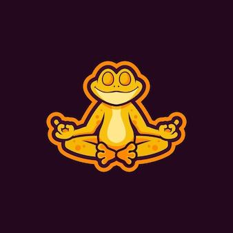 禅カエルのマスコットのロゴデザイン