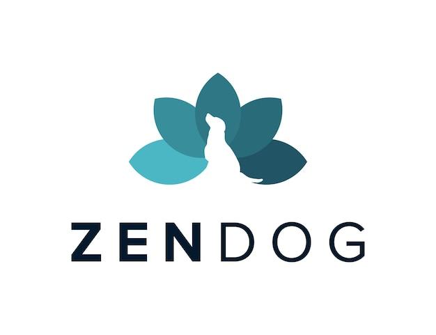 ネガティブスペース犬と禅の葉シンプルな創造的な幾何学的な洗練されたモダンなロゴデザイン