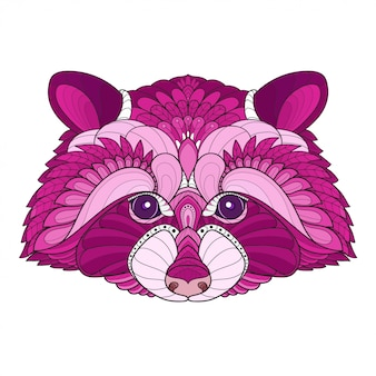 Zen tangle stylized raccoon head