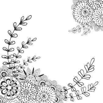 装飾のためのベクトル抽象的な花。大人のぬりえの本のページ。デザインのためのzentangle art